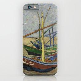 """Vincent Van Gogh """"Fishing boats on the Beach at Les Saintes-Maries-de-la-Mer"""" iPhone Case"""