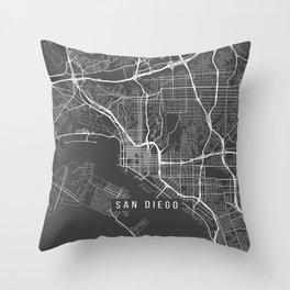San Diego Map, California USA - Charcoal Portrait Throw Pillow