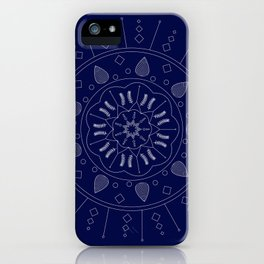 Vector White Mandala on Navy iPhone Case