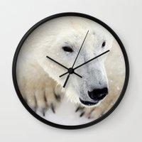polar bear Wall Clocks featuring Polar Bear by MVision Photography