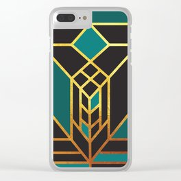 Art Deco Leaving A Puzzle In Turquoise Clear iPhone Case