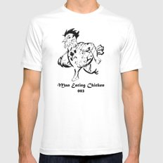 Man Eating Chicken 003 Mens Fitted Tee SMALL White