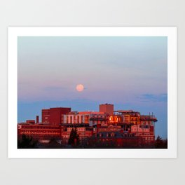 March Moonset in Portland, Maine (2) Art Print