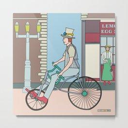 Steampunk Stovepipe Hat Biker Metal Print