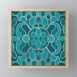 Modern Artsy Ocean Blue Rose Gold Geometric Framed Mini Art Print