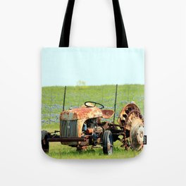 Old Tractor & Bluebonnets Tote Bag