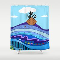 fishing Shower Curtains featuring Cat  Fishing by Cat Attack