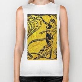 Art Nouveau,golden,black,female art, belle epoque Biker Tank