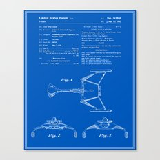 Klingon Fighter Toy Figure Patent - Blueprint Canvas Print