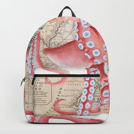 Red Octopus Vintage Map Compass Backpack