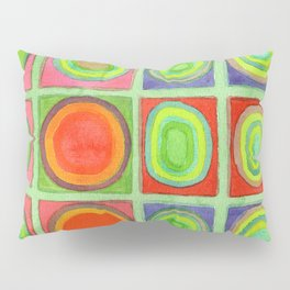 Green Grid filled with Circles and intense Colors Pillow Sham