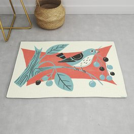 Blue Berry Bird Rug