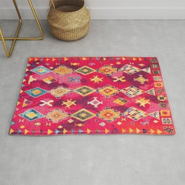 N188 - Lovely Pink Oriental Traditional Boho Moroccan Style Artwork Rug