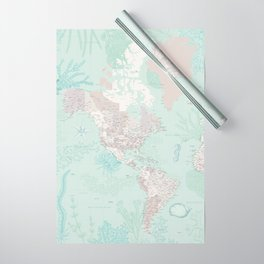 """Detailed world map with coral, seaweed and marine creatures, """"Lenore"""" Wrapping Paper"""