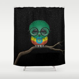 Baby Owl with Glasses and Ethiopian Flag Shower Curtain