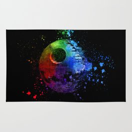 Death Star Abstract Painting - Colorful StarWars Art Rug
