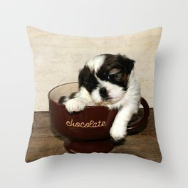 Cup of Puppy Throw Pillow