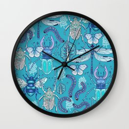 blue bugs Wall Clock