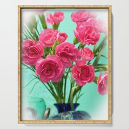 Pink Carnations Serving Tray