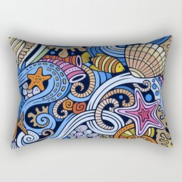Coral Reef and Underwater Wildlife Rectangular Pillow