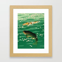 Vintage Japanese Woodblock Print Asian Art Koi Pond Fish Turquoise Green Water Cherry Blossom Framed Art Print