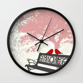 Love Birds on Park Bench Damask Wall Clock