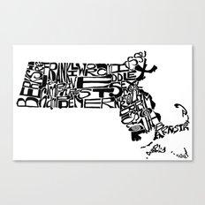 Typographic Massachusetts Canvas Print