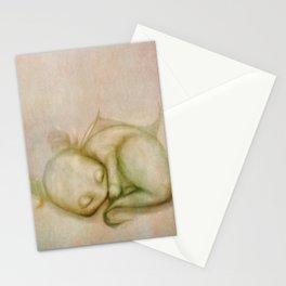 Sleeping Baby Dragon Illustration Stationery Cards