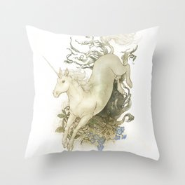 Unicorn and Silver Throw Pillow