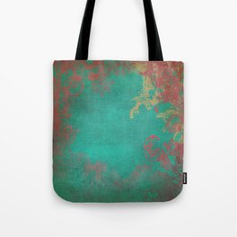 Grunge Garden Canvas Texture:  Pink and Turquoise Floral Tote Bag