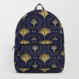 Art Deco Blue And Gold Luxury Backpack