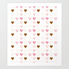 Pink and Gold Hearts Doodle Art Art Print