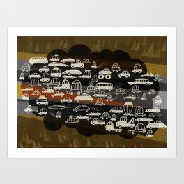 automobiles in a jam Art Print