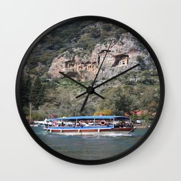 Quintessentially Dalyan: River Boats and Rock Tombs Wall Clock