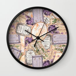 Vintage Labels in Purple + Peach Wall Clock