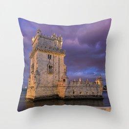 Torre de Belem, Lisbon, at dusk Throw Pillow