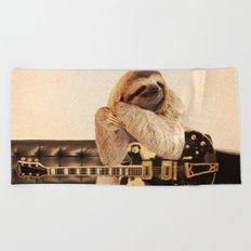 Rockstar Sloth Beach Towel