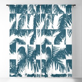 Palm Leaf Pattern Blue Blackout Curtain
