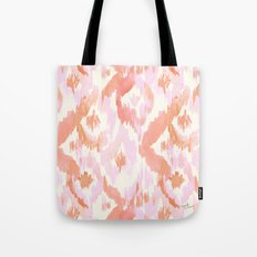 Pink Coral Ikat Diamonds Tote Bag
