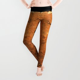 Gold Cracked Wall Texture Leggings