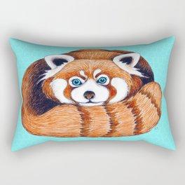 Cute Red Panda Bear On Turquoise Rectangular Pillow