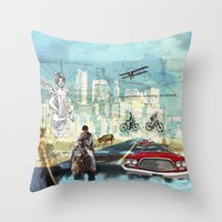 technology Throw Pillows featuring  Transportation  technology by Design4u Studio