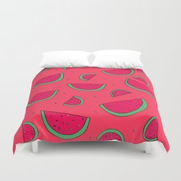 The Joy of Eating Watermelon in the Summer Duvet Cover