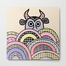 pink cow . illustration Metal Print