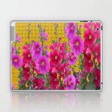 MODERN STYLE FUCHSIA-PINK HOLLYHOCKS GARDEN Laptop & iPad Skin