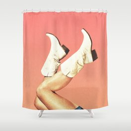 These Boots - Living Coral Shower Curtain