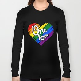 Couple Matching T-Shirt One Love Pride Gay Lesbian Gifts Long Sleeve T-shirt