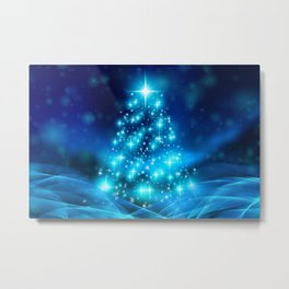 Cool Blue Christmas Tree with Sparkling Lights Metal Print