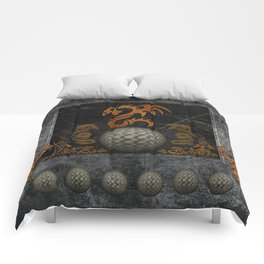 Awesome tribal dragon made of metal Comforters
