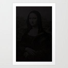mona lisa in the dark Art Print